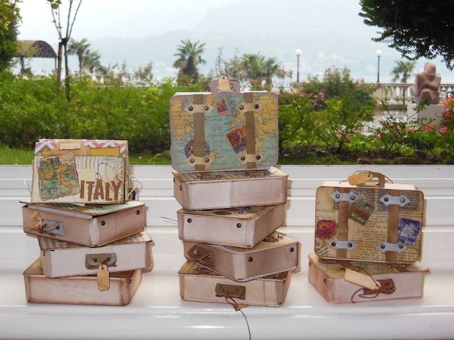 Sizzix: Die Cutting Inspiration and Tips: Die Cutting Paper: A Creative Retreat In Italy featuring projects made with the @Eileen Hull suitcase die.