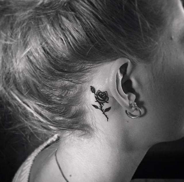 Minimalist Rose Tattoo Behind The Ear