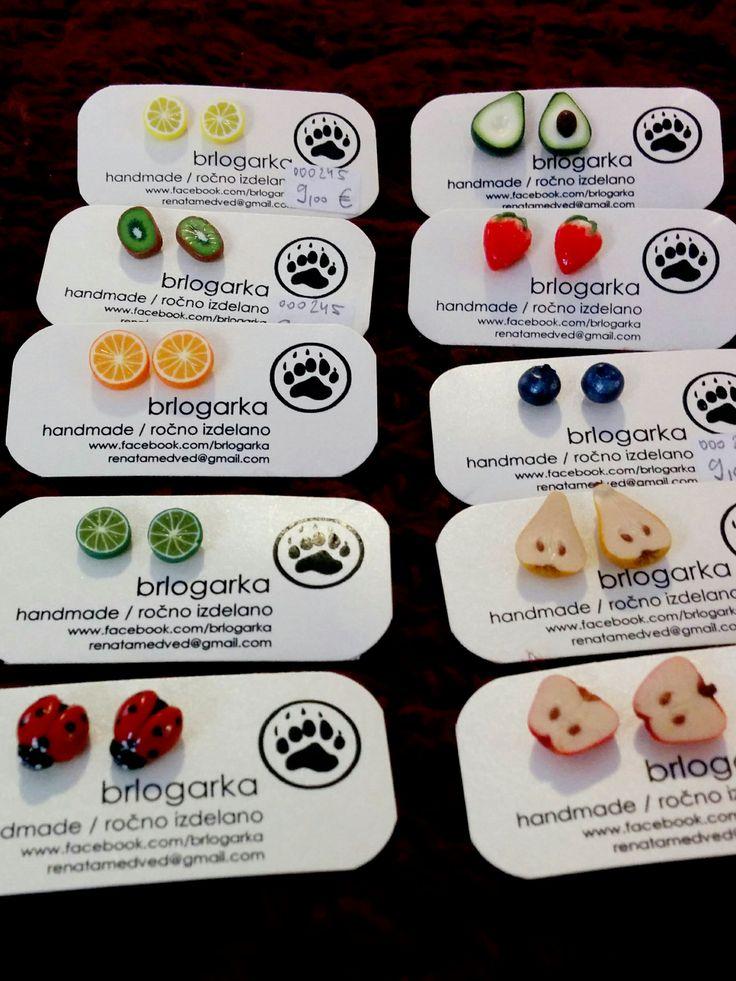 Mini fruits made by Brlogarka. You can find these cute earrings in Škofja Loka - Žaba Vanda store. #žabavanda #unique #handmade #earrings #škofjaloka