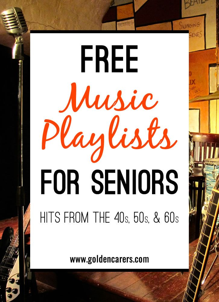 Music has been proven to be very beneficial for the elderly in long term care, particularly those living with dementia or Alzheimer's Disease. Here are some wonderful free playlists of famous songs from the 40s, 50s