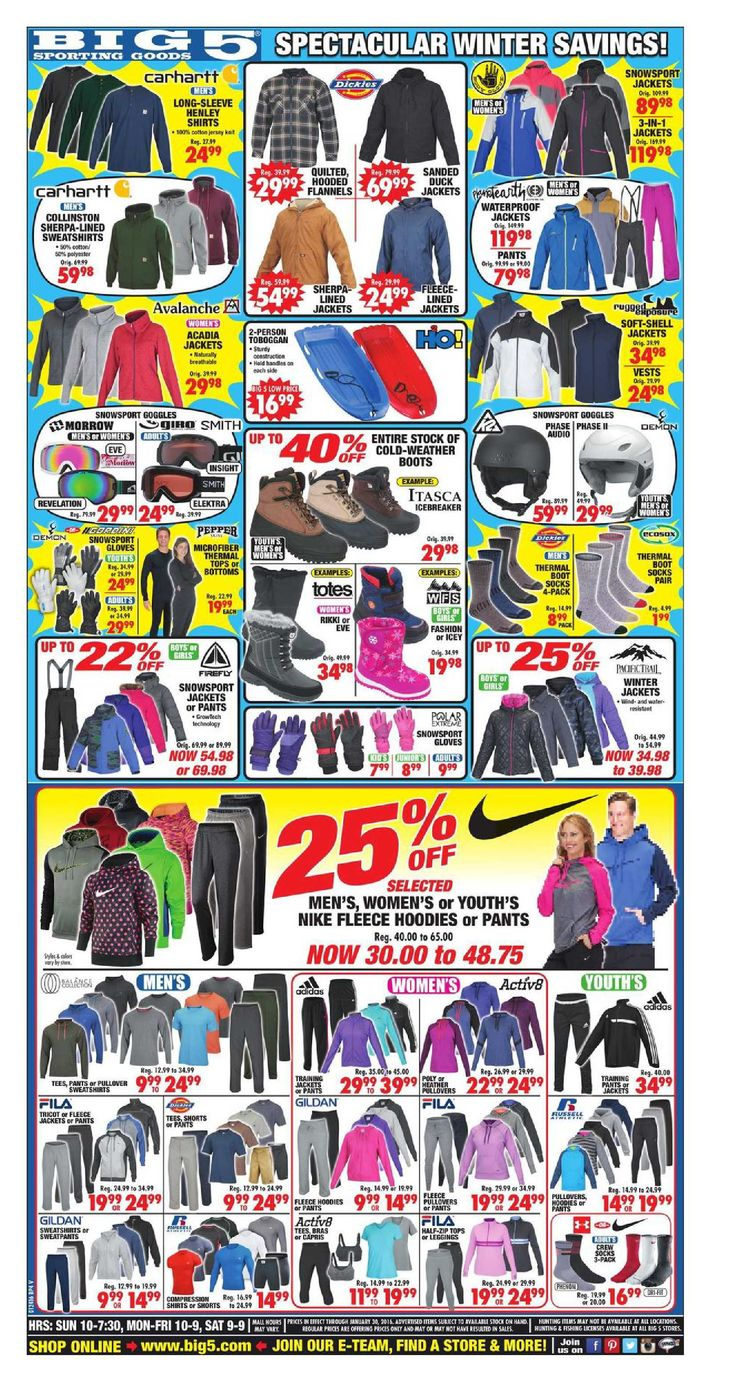 Big 5 Weekly Ad January 24 - 30, 2016 - http://www.kaitalog.com/big-5-weekly-ad.html