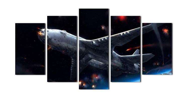 5 Шт. Художественную Роспись Стен пространство Истребитель Снять В Шторм Ночь Печать На Холсте Фото Фотографии Военных