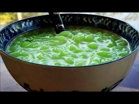 How to make Nom Lort (Cambodian pandan flavored jello in a sugary coconu...