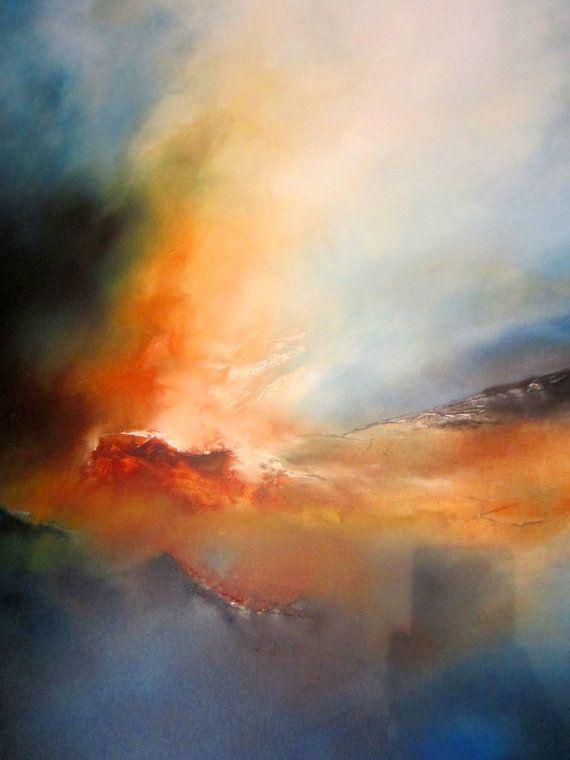 Dipinto ad olio paesaggio astratto di SimonkennysPaintings su Etsy