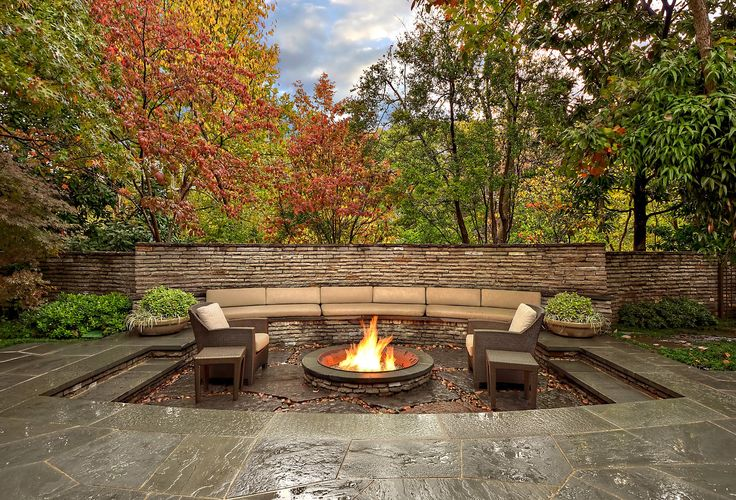 Fire Pit Made From Old Sugar Kettle Seating Area Is