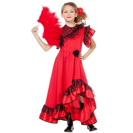 Spaanse jurk voor meisjes. Prachtige rode Spaanse jurk in de zwart kanten details. Spaanse waaiers en overige Spaanse accessoires kunt u ook bij ons bestellen. Carnavalskleding 2015 #carnaval