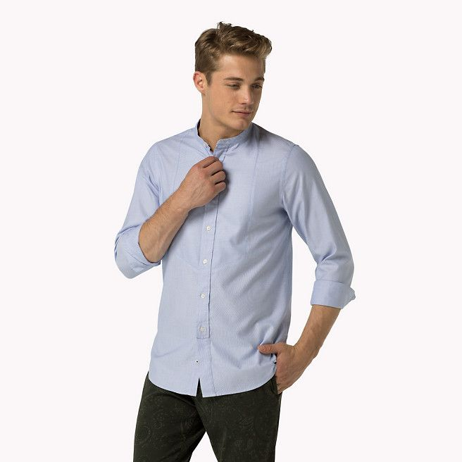 109,00 euro Camicia slim in cotone a ratiera di Tommy Hilfiger - shirt blue (Blue) - camicie casual di Tommy Hilfiger - immagine dettaglio 1