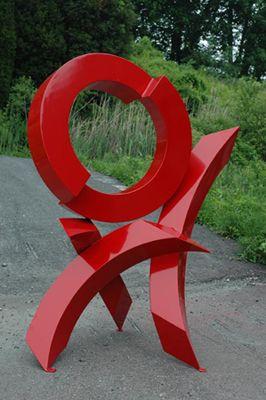 "#Artist: Rob Lorenson, ""Red Rhythm #5"" free standing #sculpture #art #aluminum…"