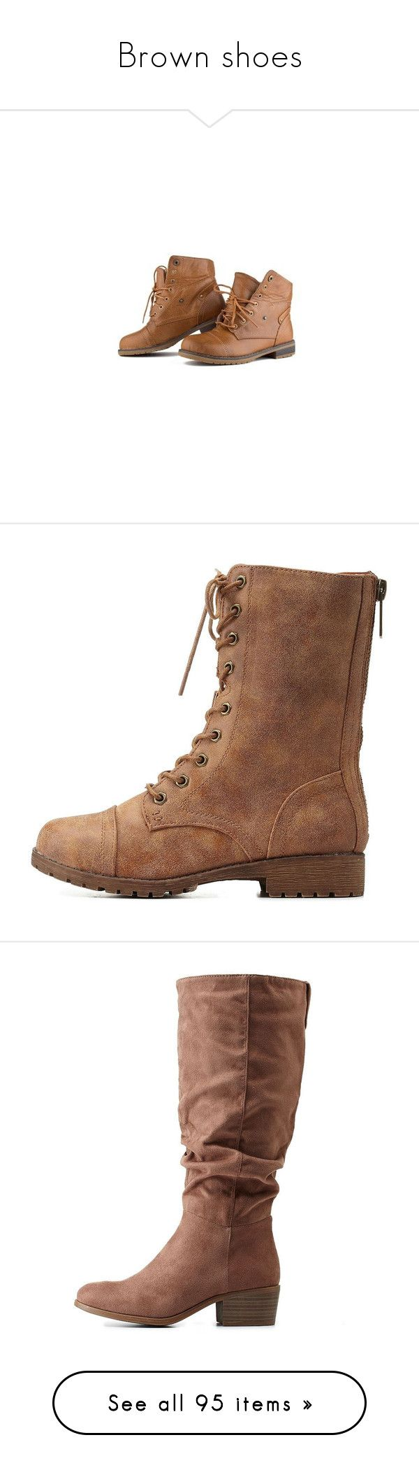 """""""Brown shoes"""" by violetrose74 ❤ liked on Polyvore featuring shoes, boots, ankle booties, lace up boots, lace up combat boots, lace up booties, combat booties, bootie boots, chestnut and back zipper boots"""
