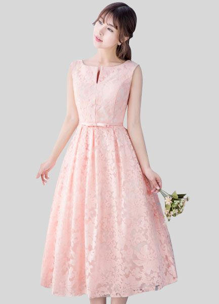 Lace Homecoming Dress Light Pink Prom Dress Notched Neckline Sash A Line Tea Length Blush Bridesmaid Dress