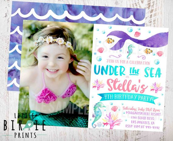 MERMAID BIRTHDAY INVITATION Mermaid  by littlebirdieprints on Etsy