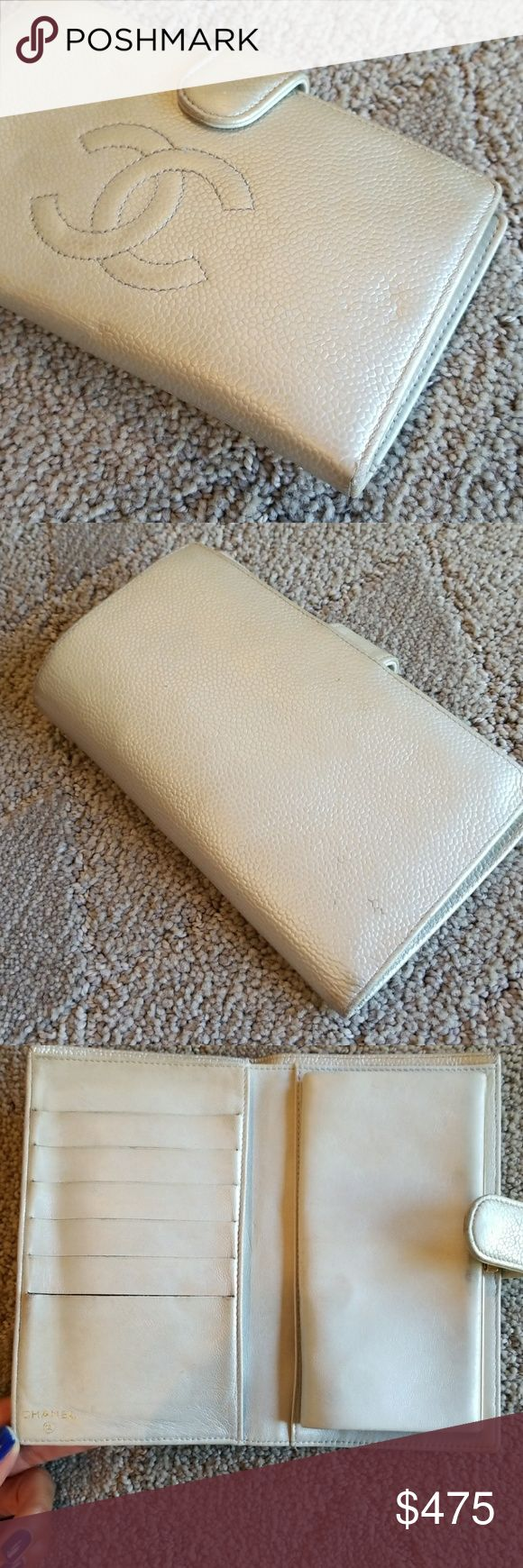 """Chanel Wallet Authentic Chanel. Used with Love. Excellent condition. Normal wear and tear or corners. Purchased at Bellagio in Vegas. Classic wallet. 6.75"""" L x 4"""" H x 1/2"""" D (opens wider obviously) No trades. Will not communicate outside of Poshmark. No spam comments please! CHANEL Bags Wallets"""