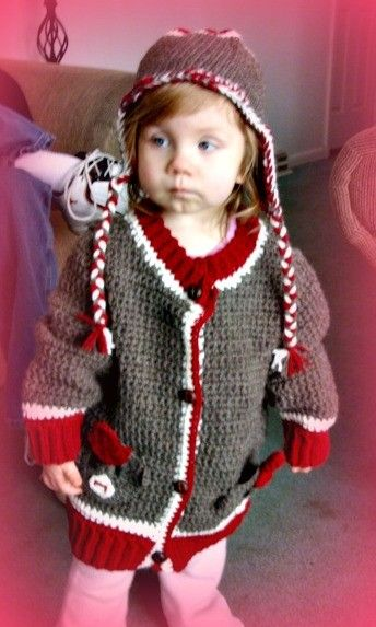 Toddler Unisex Sock Monkey Cardigan and Hat Set Crochet Pattern pdf 522 sizes 2T,3T, 4T. $7.95, via Etsy.
