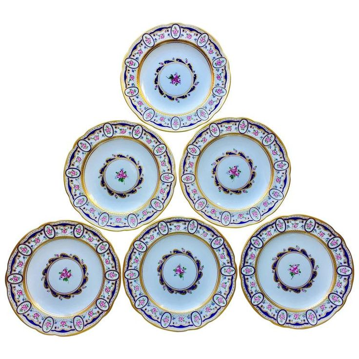 Six Sevres Porcelain Dinner Plates | From a unique collection of antique and modern dinner-plates at https://www.1stdibs.com/furniture/dining-entertaining/dinner-plates/