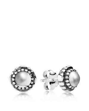 Pandora Earrings - Sterling Silver & Rock Crystal Birthday Blooms April Stud