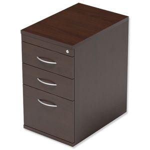 Product 100953, Description: Trexus Filing Pedestal Desk-High 3-Drawer W400xD600xH725mm Dark Walnut