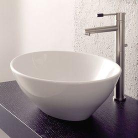 Nameeks Scarabeo Ovo White Vessel Oval Bathroom Sink Scarabeo 8011