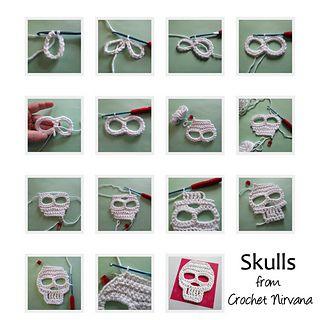 Skulls! By @crochetnirvana on #ravelry - FREE #crochet pattern -- http://www.ravelry.com/patterns/library/skulls