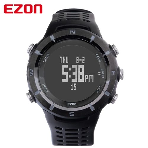 (147.45$)  Buy here - http://ai1ze.worlditems.win/all/product.php?id=J0994 - EZON Digital Compass Altimeter Barometer Weather Forecast Multi-functional Outdoor Sports Watch for Hiking Climbing Running Walking Camping High-end 5ATM Water Resistant Men Wristwatch with Function of Calendar World Time Alarm Hourly Chime