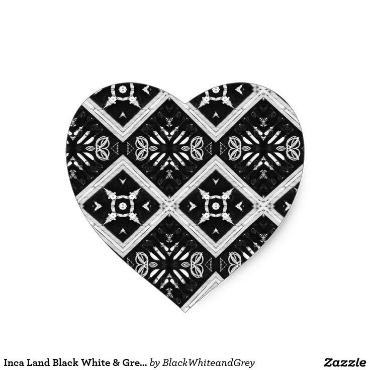 Inca Land Black White & Grey Heart Stickers