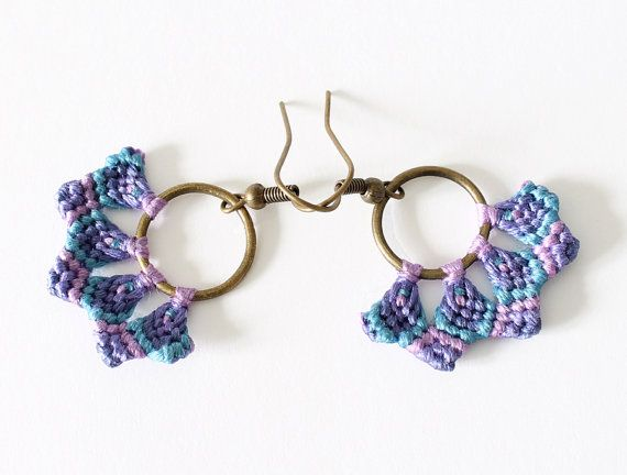 Textile macrame hoop dangle colorful earrings by KnottedWorld