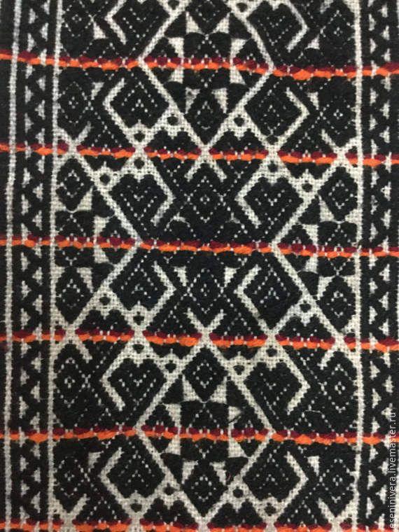 Купить Уникальный нагрудник с обережной вышивкой - комбинированный, шов роспись, вышивка набором, домоткань