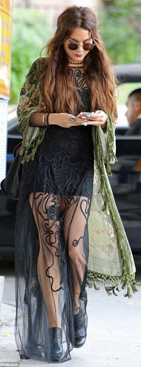 Vanessa Hudgens Black Maxi Hippie Dress @Abbie Barnes Barnes Barnes Barnes Moody she actually has like the best style ever...