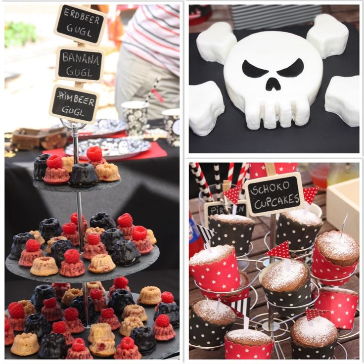 Piratengeburtstag Piratenkuchen Totenkopfkuchen Buffet www.pickposh.de