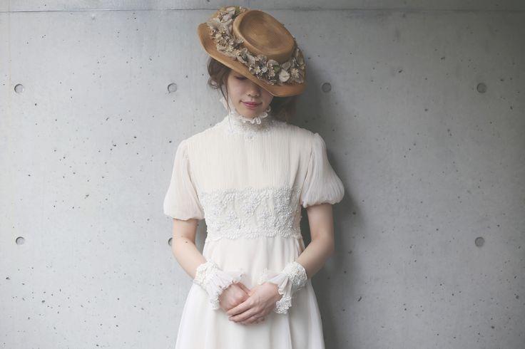 vintage wedding dress&hesd dress vintage dress アンティークヘッドドレス ウェディングドレス 結婚 花嫁 flower ブーケ