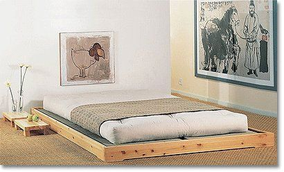tatami platform bed with thick western futon mattress