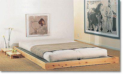 tatami platform bed with thick western futon mattress