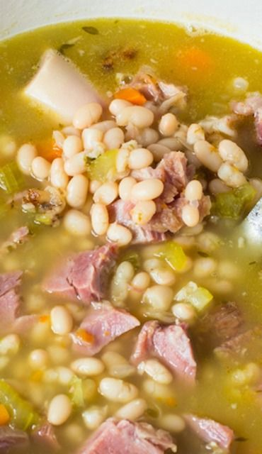 Ham and Bean Soup. 1 ham bone (I leave meat on the bone while it cooks) 4-5 cups leftover ham 2 cups dry navy beans 2 cups celery, chopped 2 cups carrots, chopped 1 large onion, finely chopped 3 cloves garlic, finely minced 4 sprigs fresh thyme, or 2 teaspoons dry 1/4 cup fresh parsley or 1 tbsp. dry 1/2 teaspoon fresh ground pepper 8-9 cups chicken stock