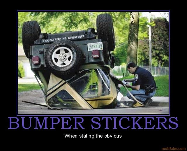 Funny photos funny bumper sticker car upside down