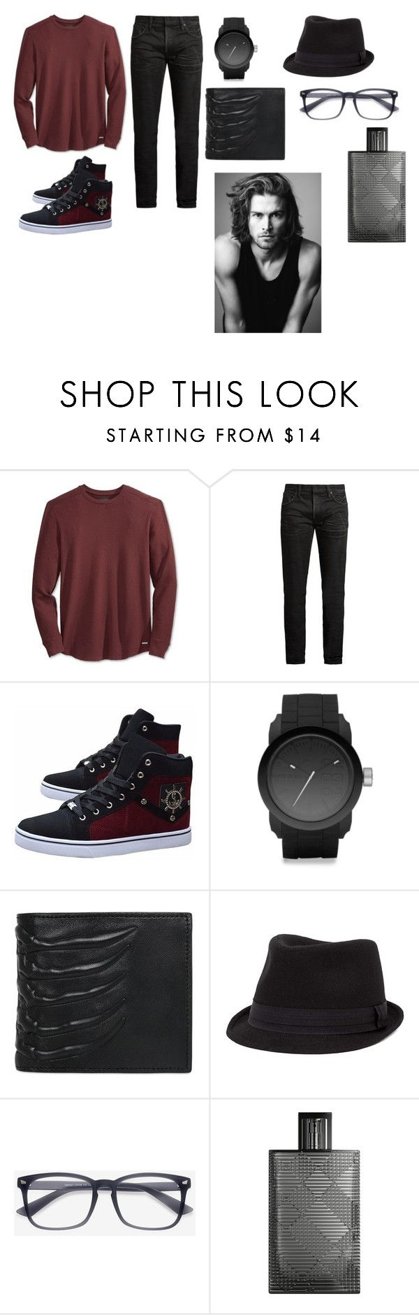 """вечер"" by reduska on Polyvore featuring GUESS, MasterCraft Union, Diesel, Alexander McQueen, BKE, Burberry, Merrell, men's fashion и menswear"