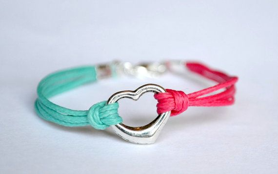 Heart friendship bracelet for children pink and by ShaniAndAdi, $8.00
