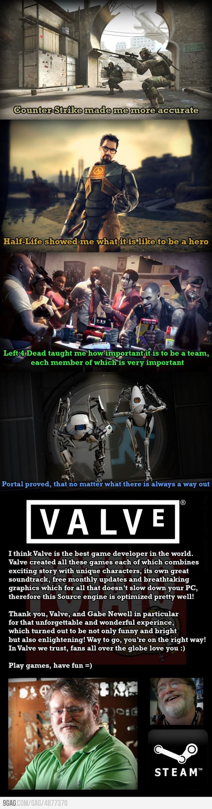 Valve, one of the best game developers ever in the history of everything