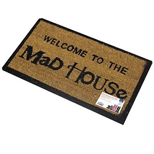 Jvl Novelty Pvc Backed Coir Mad House Entrance Door Mat - 33 X 60 Cm