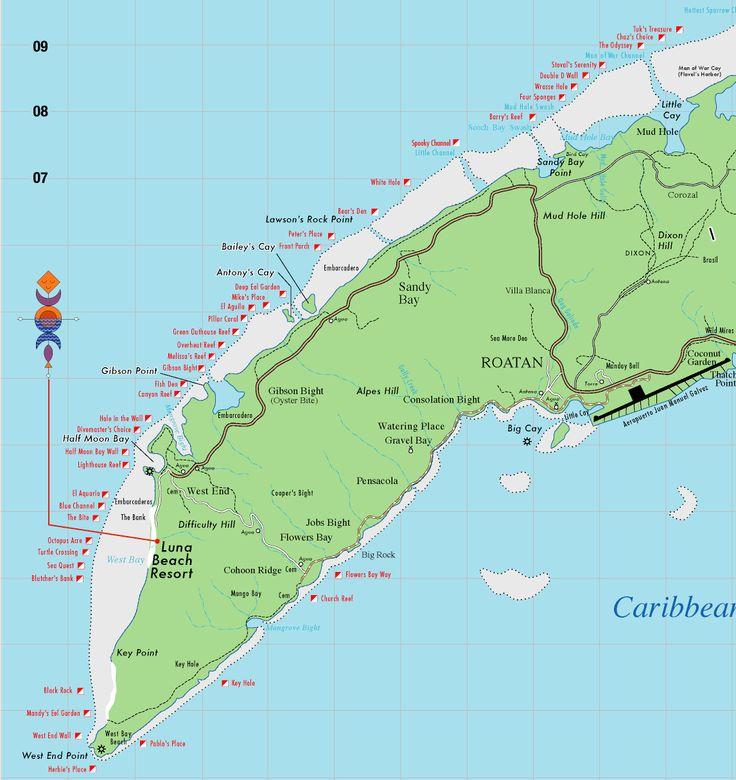 Map of roatan honeymoon pinterest roatan and maps - Padi dive locations ...