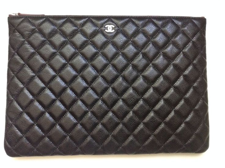 CHANEL O CASE! Large Black Quilted Caviar NIB 2015 Authentic! Pouch/Clutch! :) #CHANEL #OCase