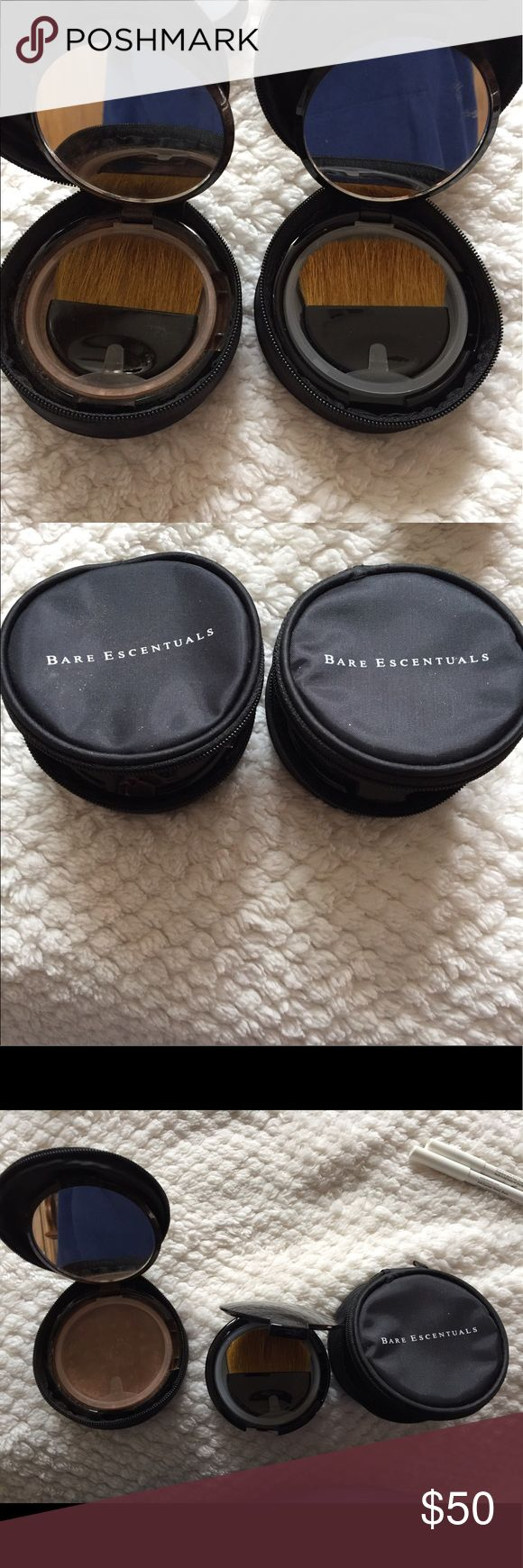 BARE ESCENTUALS BUNDLE. BARE ESCENTUALS  BUNDLE. ONE PRE FILLED.   ONE NEW .  GREAT FOR TRAVEL OR IN PURSE.  COMES WITH CARRY CASE, PLASTIC HOLDER, BRUSH.  CAN BE USED FOR FOUNDATIONS POWER ETC. Bare Escentuals Makeup Face Powder