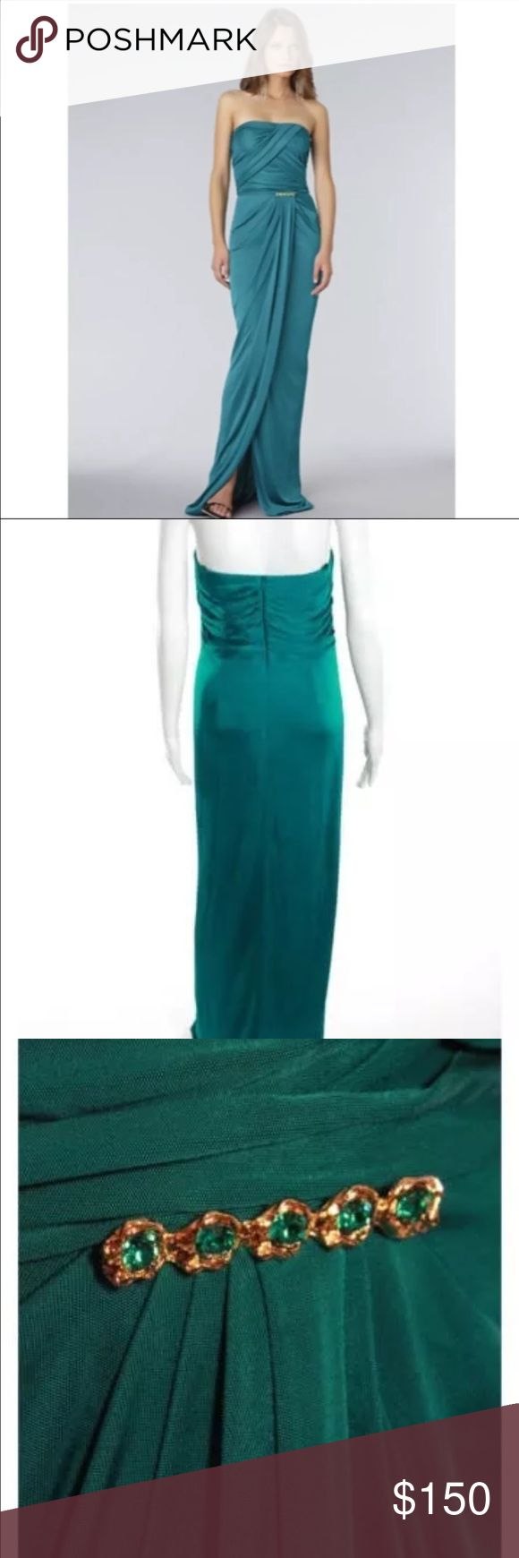 David Meister Strapless Long Dress Green Size 10 Beautiful dress! Never worn! New with tags!! David Meister Dresses Maxi