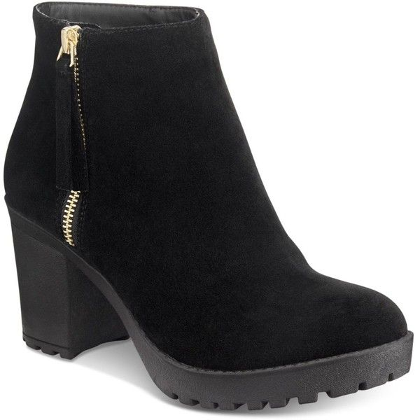 Material Girl Ellice Ankle Booties, Created for Macy's (€58) ❤ liked on Polyvore featuring shoes, boots, ankle booties, black, side zip booties, lug sole booties, chunky ankle booties, block heel booties and black side zip boots
