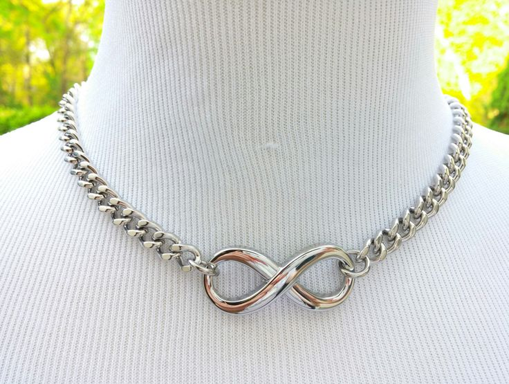BDSM Infinity Slave Collar, Stainless Steel Discreet Locking Day Collar
