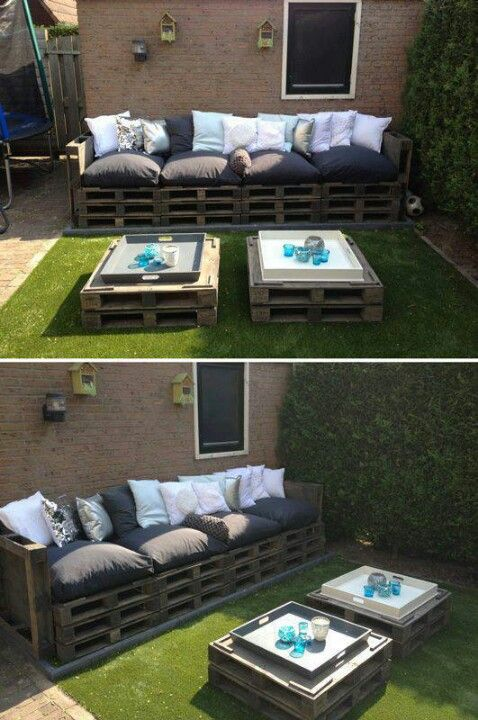 Easy outdoor space (bench & tables) using #pallets - http://dunway.info/pallets/index.html