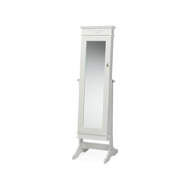Bimini Wood Crown Molding Top Free Standing Full Length Cheval Mirror Jewelry Armoire - White Finish - Baxton Studio