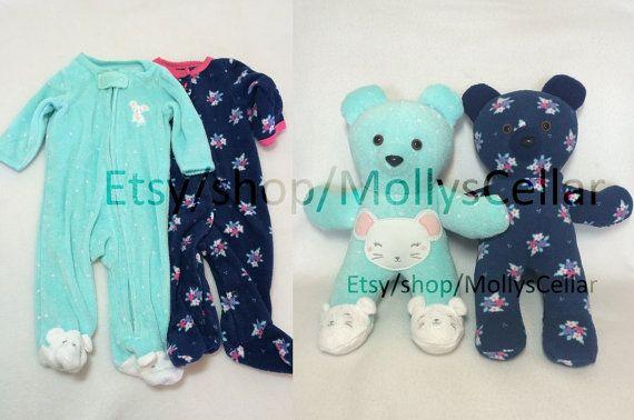 Memory bear, memory bears, memory animal,  bear from outfit, keepsake bear, bear from baby clothes, bear from sleeper, sleeper bear
