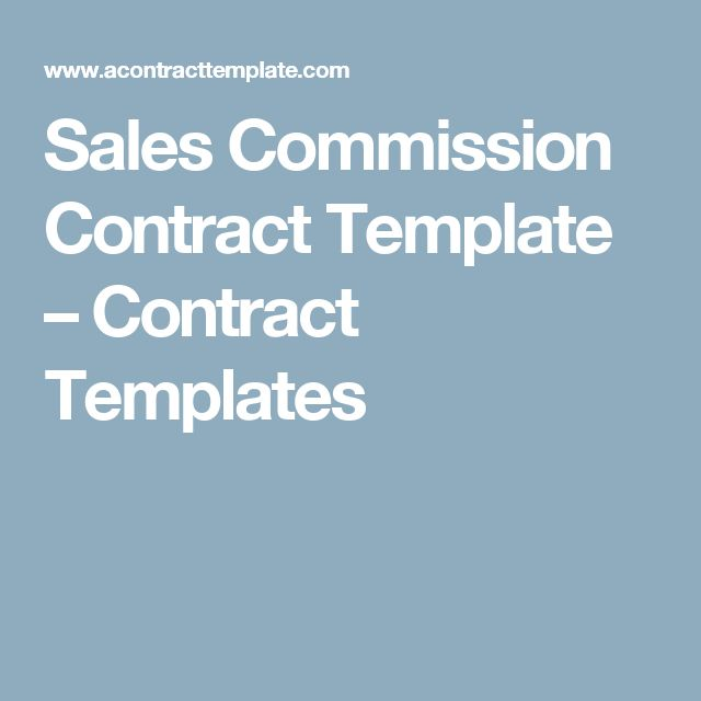 Sales Commission Contract Template  Contract Templates