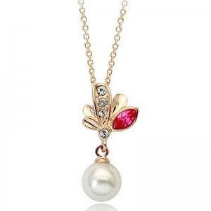 Naszyjnik listki z perłą i cyrkoniami