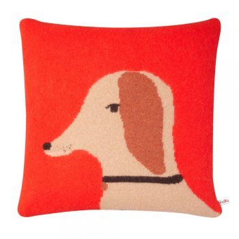 Donna Wilson Knitted Dog Cushion - Red - Donna Wilson from eggcup & blanket UK