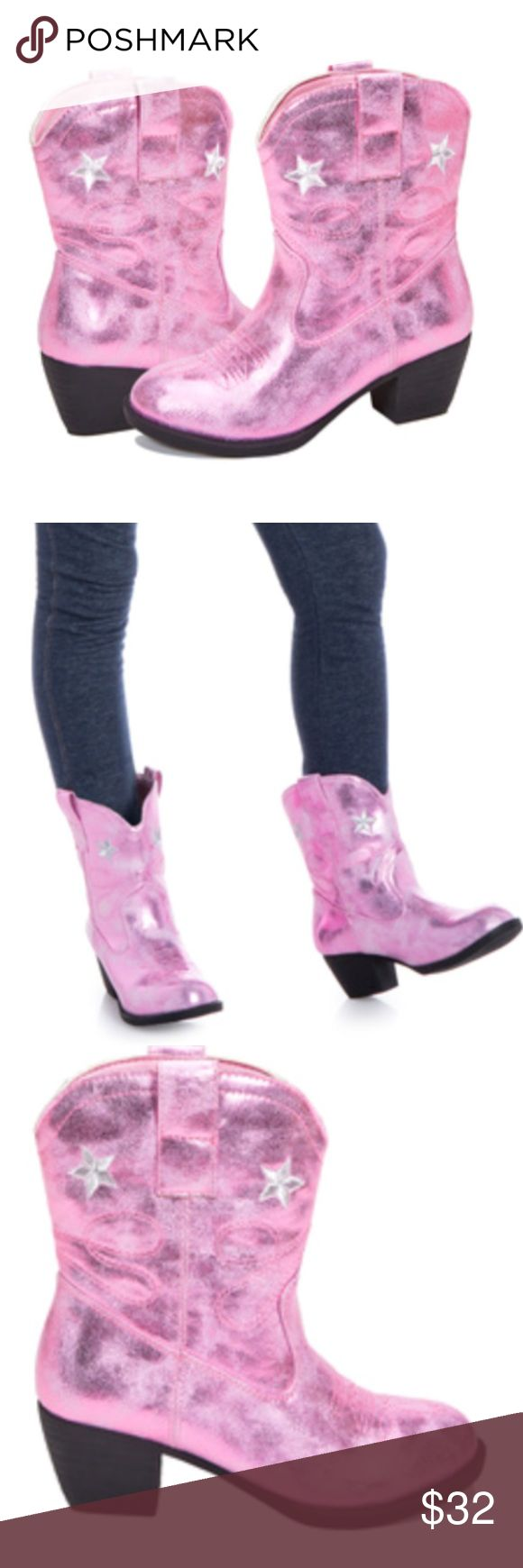 . Just in! Adorable Girls Cowgirl Boot For your little cowgirl. So sweet!  Get yours before your size sells out!  Silver star & stitching detail on these stylish metallic boots. Spot clean. Shoes Boots